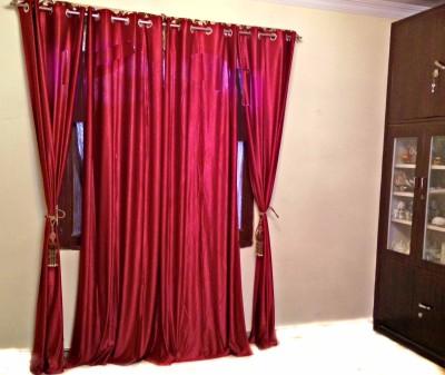 SHC Polyester Maroon Solid Eyelet Door Curtain