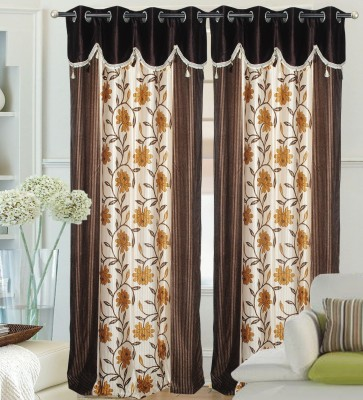 Decor Vatika Polyester Brown Abstract Eyelet Long Door Curtain