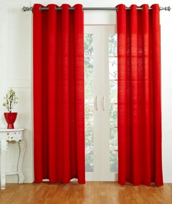 House This Cotton Red Solid Tab Top Long Door Curtain