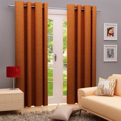 Angrezi Home Polyester Brown Floral Eyelet Window & Door Curtain