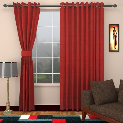 SEVEN STARS Cotton Red Checkered Eyelet Window Curtain