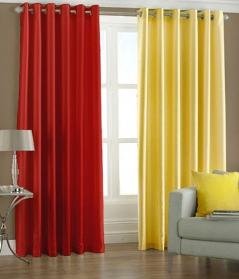 Export Hub Polyester Multicolor Plain Eyelet Door Curtain