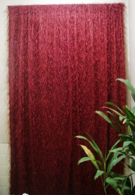 Little Home Polyester Burgundy-05 Abstract Rod pocket Window & Door Curtain