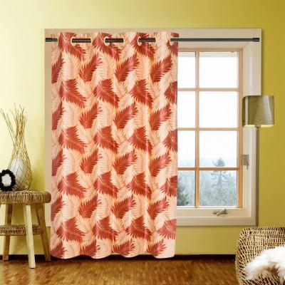 Kings Polycotton Orange Self Design Tab Top Window Curtain