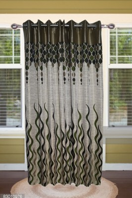 shoppeholics Blends, Polyester Green Abstract Eyelet Door Curtain