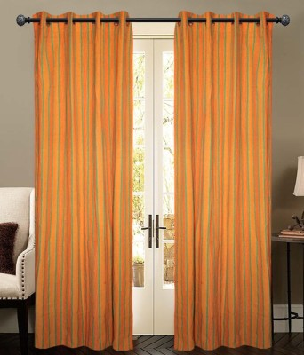 New Ladies Zone Cotton Yellow Striped Eyelet Door Curtain