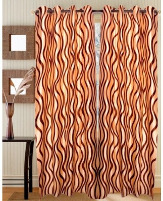 HandloomVilla Polyester Maroon Striped Eyelet Door Curtain