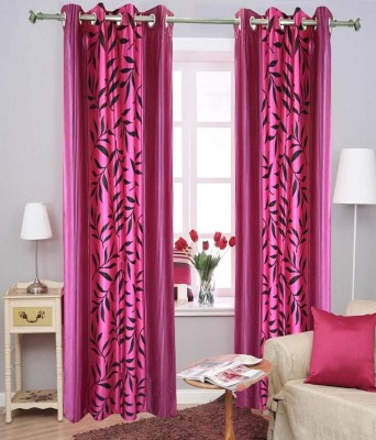 Angel Homes Polyester Pink Floral Eyelet Long Door Curtain