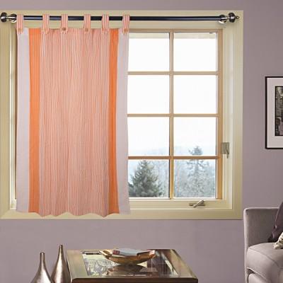 Kings Polycotton Orange, White Motif Tab Top Door Curtain