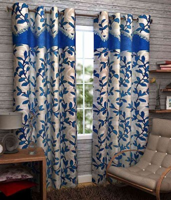 Divine Polyester Blue Floral Eyelet Long Door Curtain