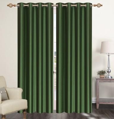 Furnishing Zone Polyester Green Plain Eyelet Long Door Curtain