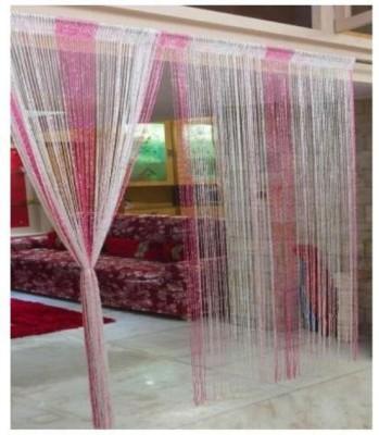 Ramcha Polyester Pink Self Design Rod pocket Window & Door Curtain