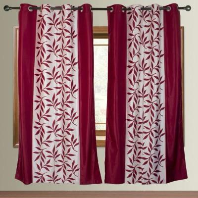 Z Decor Silk Maroon Printed Eyelet Door Curtain