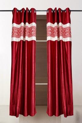 the handloom store Polyester Maroon Plain, Self Design Eyelet Door Curtain