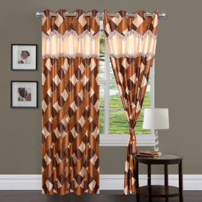 Brabuon Polyester Multicolor Checkered Eyelet Window Curtain