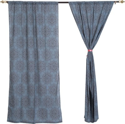 Rajrang Cotton Grey, Brown Floral Eyelet Door Curtain