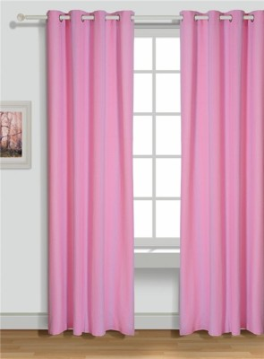 House This Cotton Pink Motif Tab Top Window Curtain