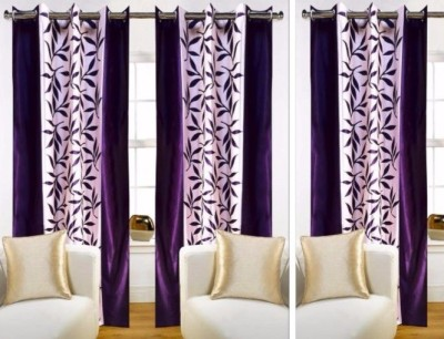 SKE Polyester Purple Striped Eyelet Door Curtain
