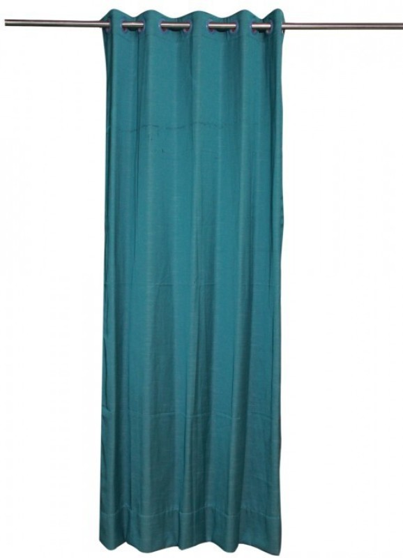ANIQ Polycotton Blue Plain Curtain Door Curtain(210 cm in Height, Single Curtain)