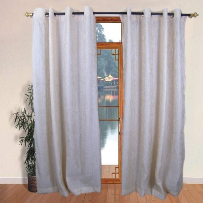 The Fancy Mart Polyester Beige Solid Eyelet Door Curtain