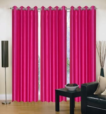 HandloomVilla Polyester Pink Solid Eyelet Door Curtain