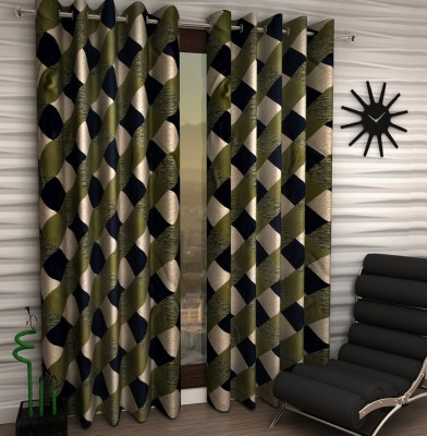 Home Fantasy Polyester Green Checkered Eyelet Window Curtain