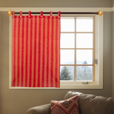 Kings Polycotton Red Striped Eyelet Door Curtain