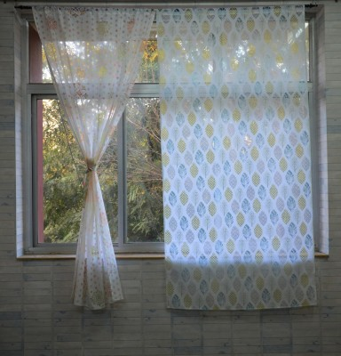 Pas Home Polycotton Green Abstract Rod pocket Window Curtain