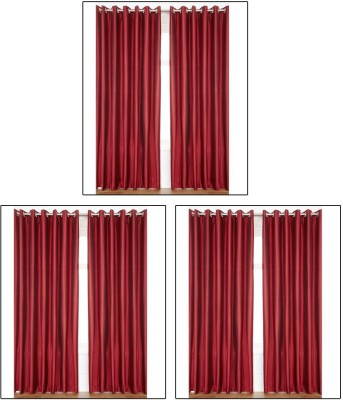 Madhav Product Polyester Maroon Solid Eyelet Door Curtain
