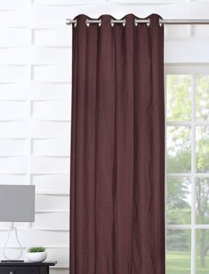 Portico New York Polyester Brown Plain Curtain Door Curtain