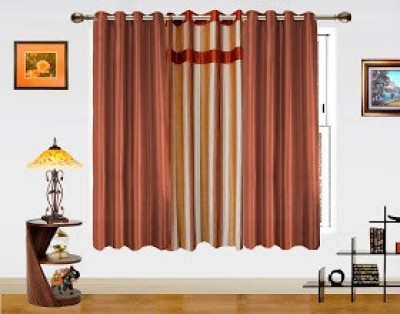 Dekor World Polyester Brown Abstract Eyelet Window Curtain