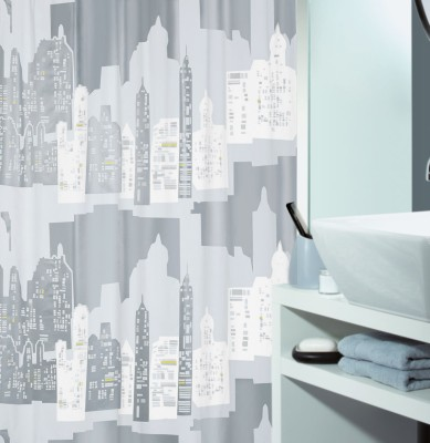 Spread PVC Silver Printed Eyelet Shower Curtain