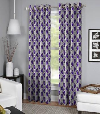 BSB Trendz Polyester Purple Floral Curtain Window Curtain