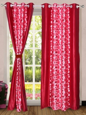 Wind Drape Polyester Red Floral Ring Rod Door Curtain