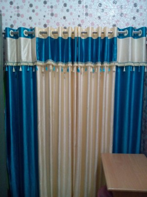 mansuriwala Polyester cream+sky blue Floral Eyelet Window & Door Curtain