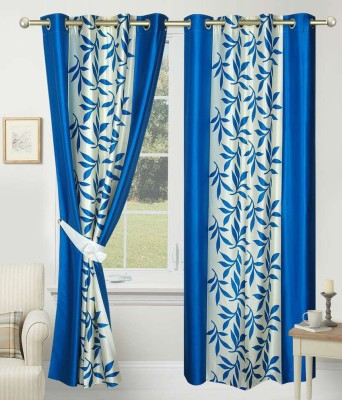 Home Fashion Gallery Polyester Blue Floral Eyelet Door Curtain