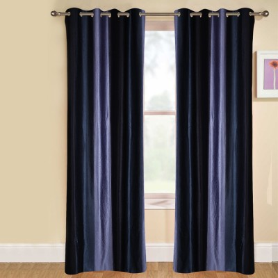 kaka furnishings Polyester Blue Plain Eyelet Long Door Curtain