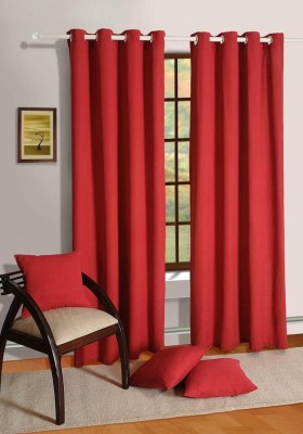 House This Cotton Maroon Floral Eyelet Window Curtain