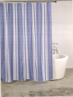 Linenwalas PVC Marl Stripe Motif Eyelet Shower Curtain(198 cm in Height, Single Curtain)