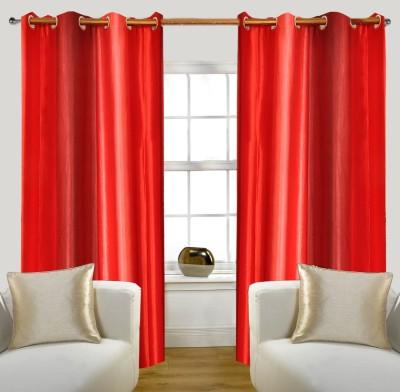 Glamora Interiors Polyester Pink Striped Eyelet Window & Door Curtain