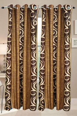 Valtellina Polyester Brown Abstract Eyelet Long Door Curtain