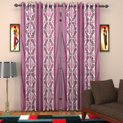 SurprizeMe Polyester Purple Printed Eyelet Door Curtain