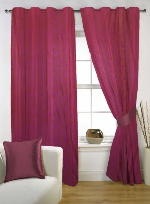 Kings Polycotton Purple Solid Tab Top Door Curtain