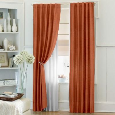 Dreamscape Blends Orange Printed Eyelet Door Curtain