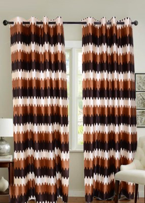 Jds Polyester Brown Striped Ring Rod Door Curtain