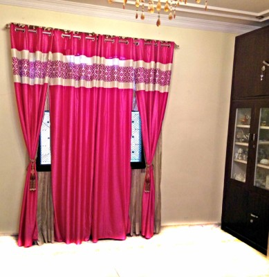 SHC Polyester Pink Self Design Eyelet Door Curtain