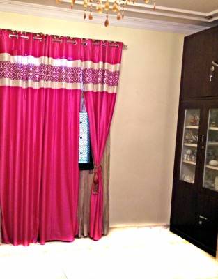 SHC Polyester Pink Self Design Tab Top Door Curtain