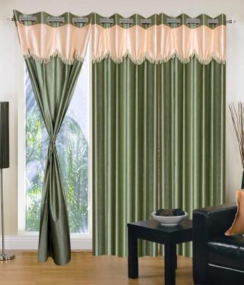 JTInternational Polyester Green Motif Eyelet Door Curtain
