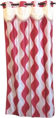 Trendy Home Polyester Red Geometric Eyelet Window Curtain