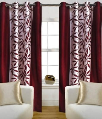 RedHot Polyester Maroon Floral Eyelet Long Door Curtain